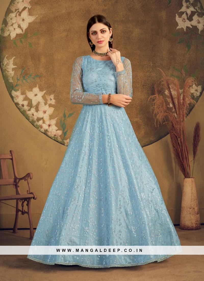 Sky Blue Color Net Reception Gown