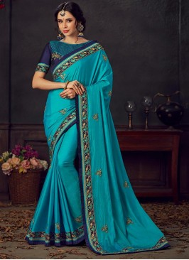 Sky Blue Color Poly Silk Saree With Unstitched Blouse
