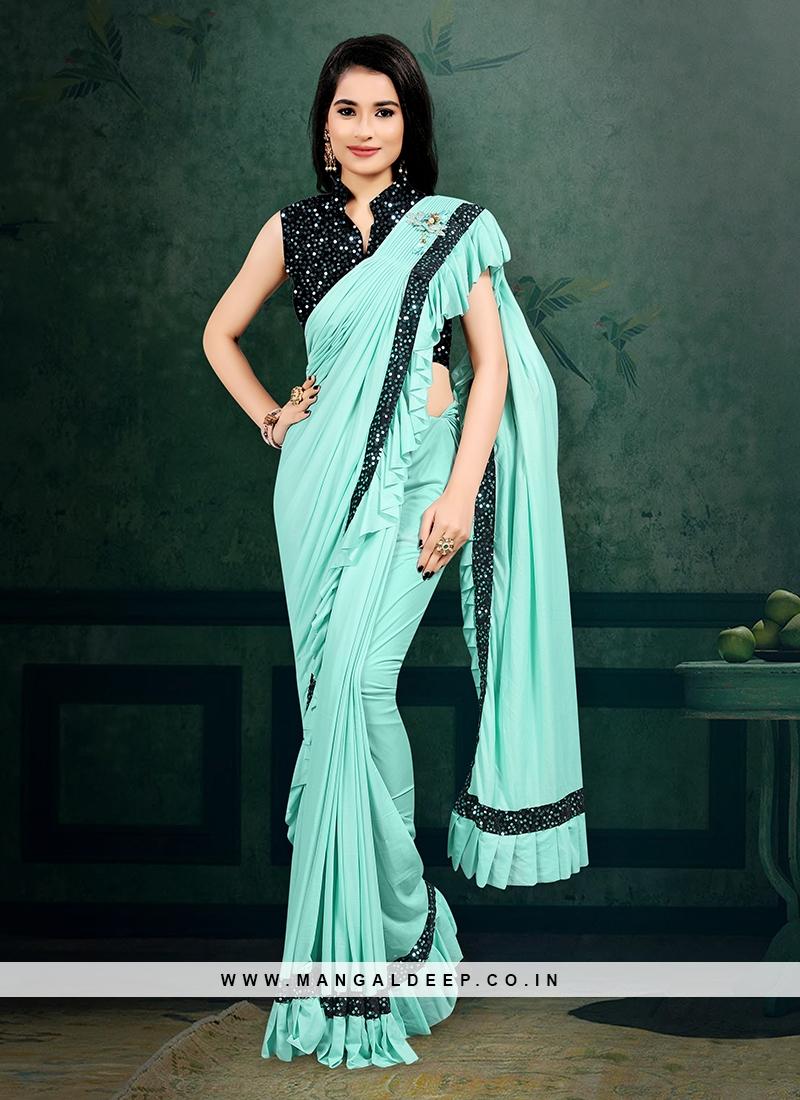 Sky Blue Color Ready To Wear Saree