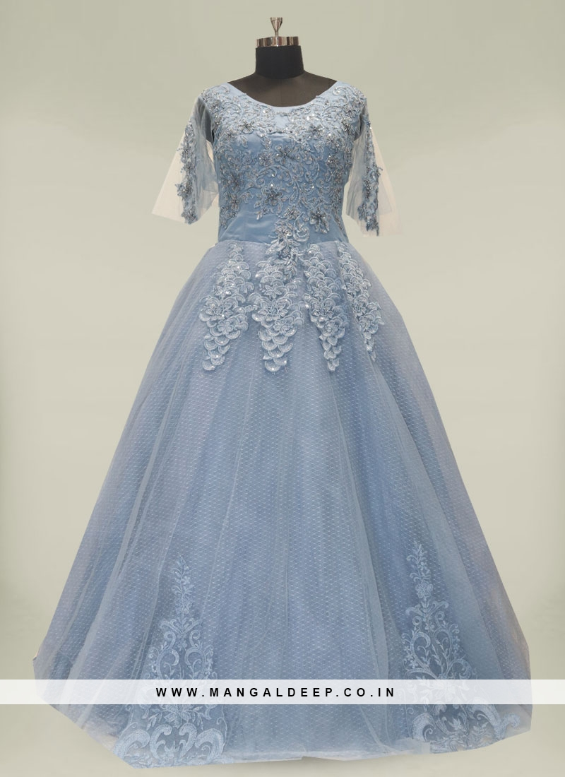 Sky Blue Color Resham Work Floor Length Gown