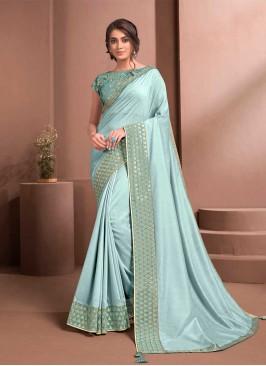 Sky Blue Color Satin Silk Lace Border Saree
