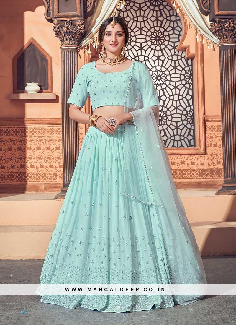 Sky Blue Color Sequins Work Latest Design Lehenga