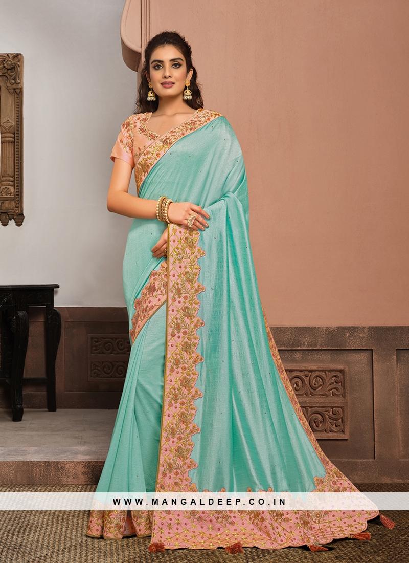 Sky Blue Color Silk Latest Design saree