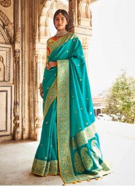 Sky Blue Color Silk Latest Saree