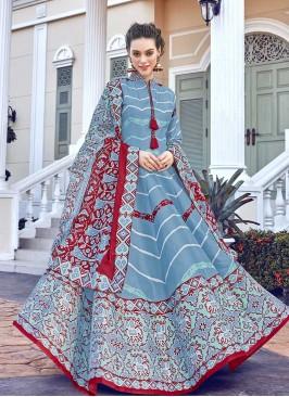 Sky Blue Color Silk Patola Silk Anarkali Salwar Suit