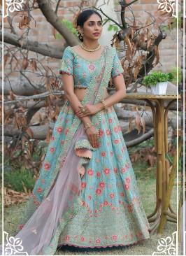 Sky Blue Color Silk Resham Work Lehenga Choli