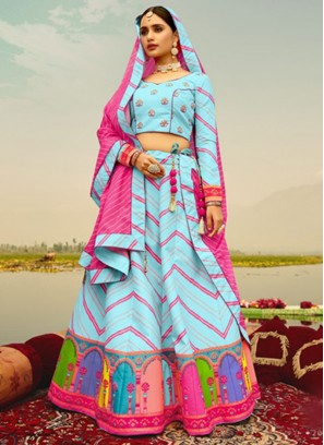 Sky Blue Digital Printed Lehenga Choli