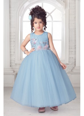 Sky Blue Flower Applique Kids Gown