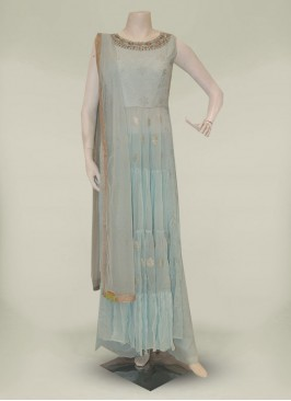 Sky Blue Georgette Readymade Anarkali Suit