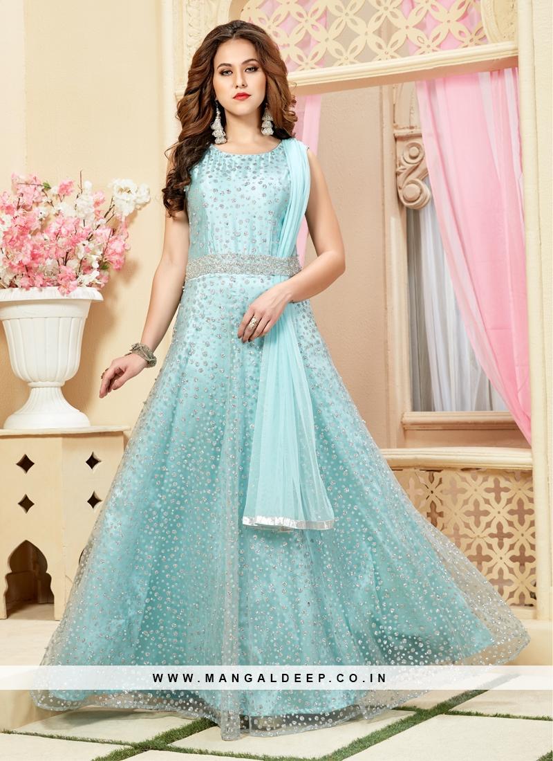 Sky Blue Net Diamond Work Gown Style Dress