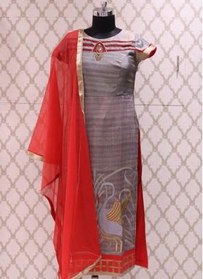 Soothing Grey Color Party Wear Designer Salwar Suit