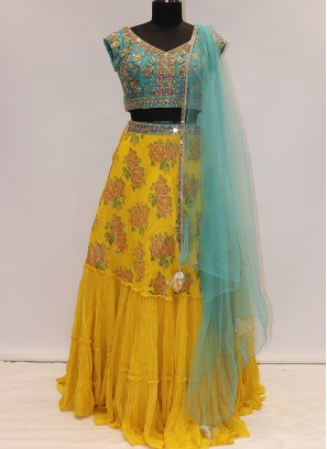 Soothing Yellow Color Designer Lehenga Choli
