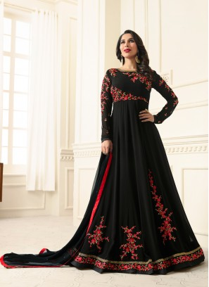 Sophie Chaudhary Black Embroidered Work Floor Length Anarkali Suit