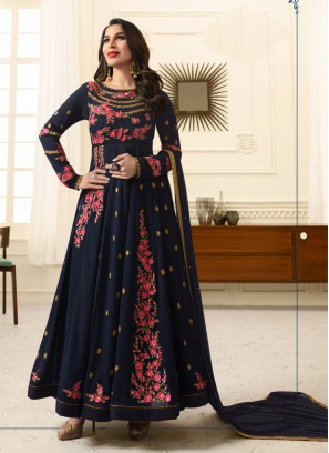 Sophie Chaudhary Blue Embroidered Work Floor Length Anarkali Suit