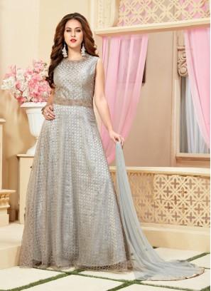 Steal Grey Net Diamond Work Designer Gown