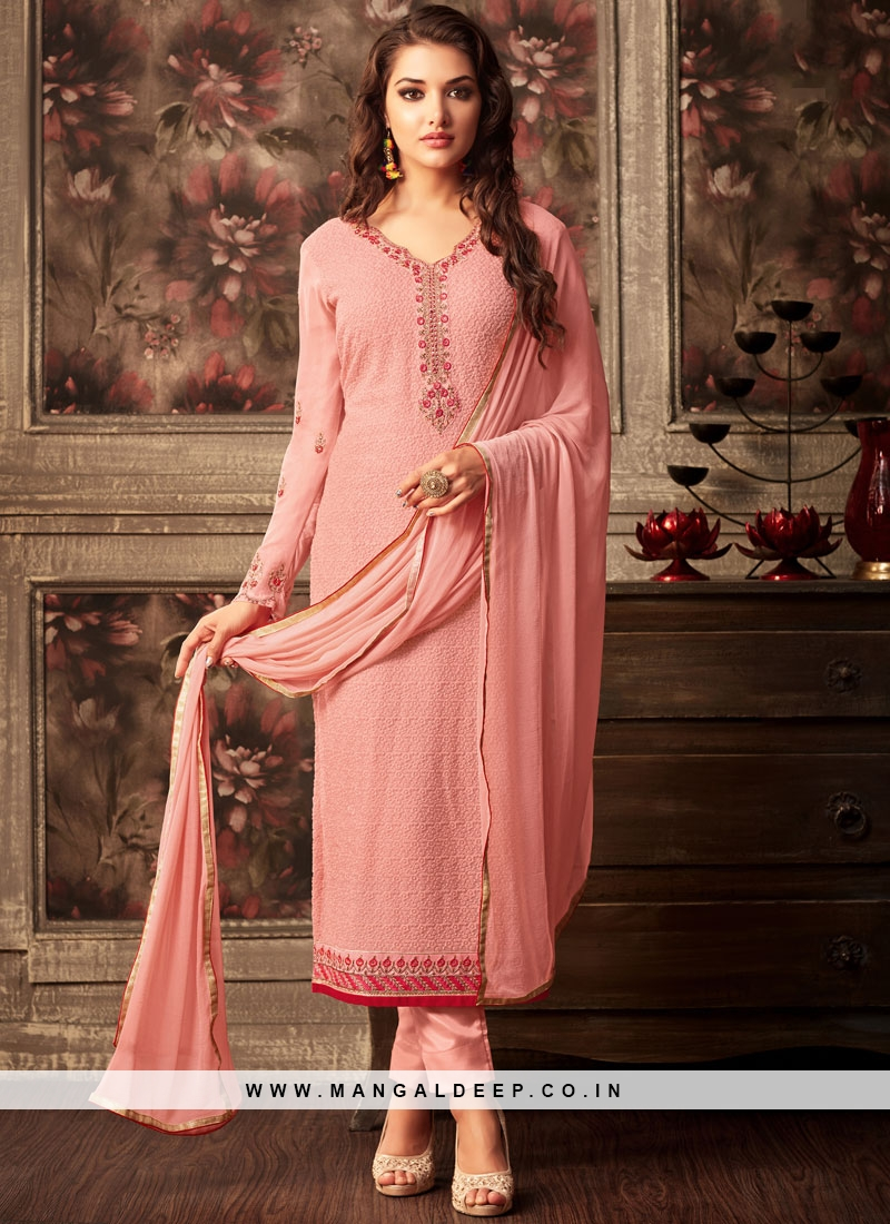 Striking Peach Faux Georgette Churidar Designer Suit