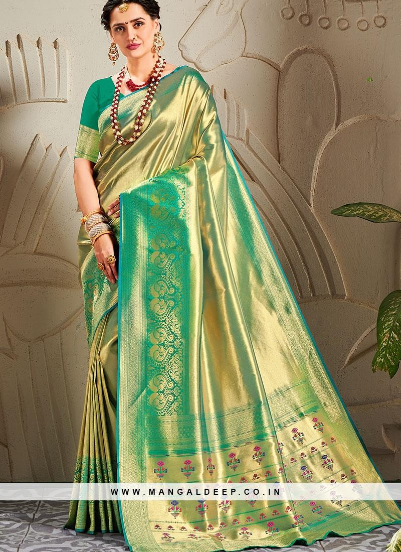 Stunning Banarasi Silk Woven Work Green Saree