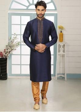 Stunning Blue Color Art Silk Embroidered Kurta Pajama