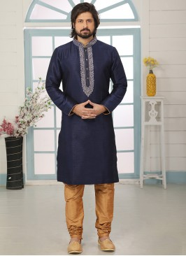 Stunning Blue Color Art Silk Embroidered Kurta Pajama