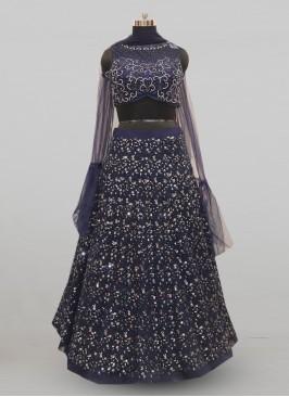Stunning Blue Color Festive Wear Designer Lehenga Choli