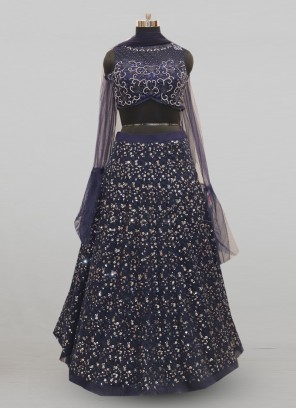 Stunning Blue Color Festive Wear Designer Lehenga Choli