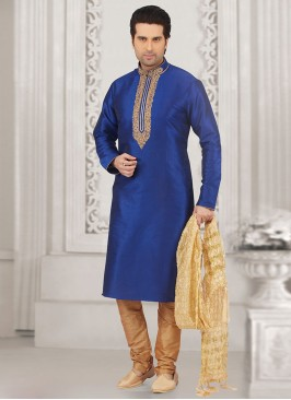 Stunning Blue Color Festive Wear Kurta Payjama