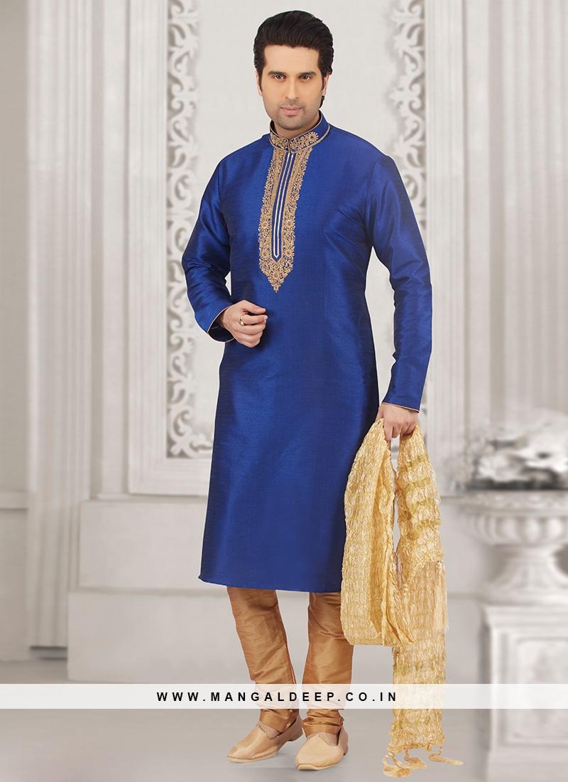 Stunning Blue Color Festive Wear Kurta Payjama