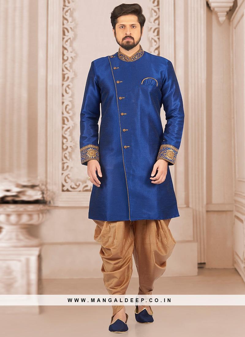 Stunning Blue Color Festive Wear Semi Indo Suit