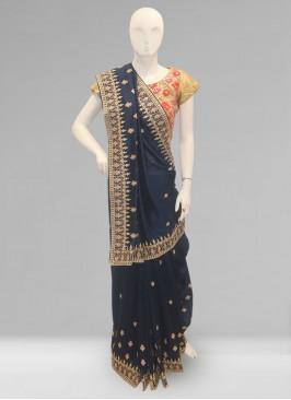 Stunning Blue Color Function Wear Designer Saree