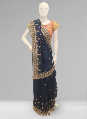 Stunning Blue Color Function Wear Designer Saree