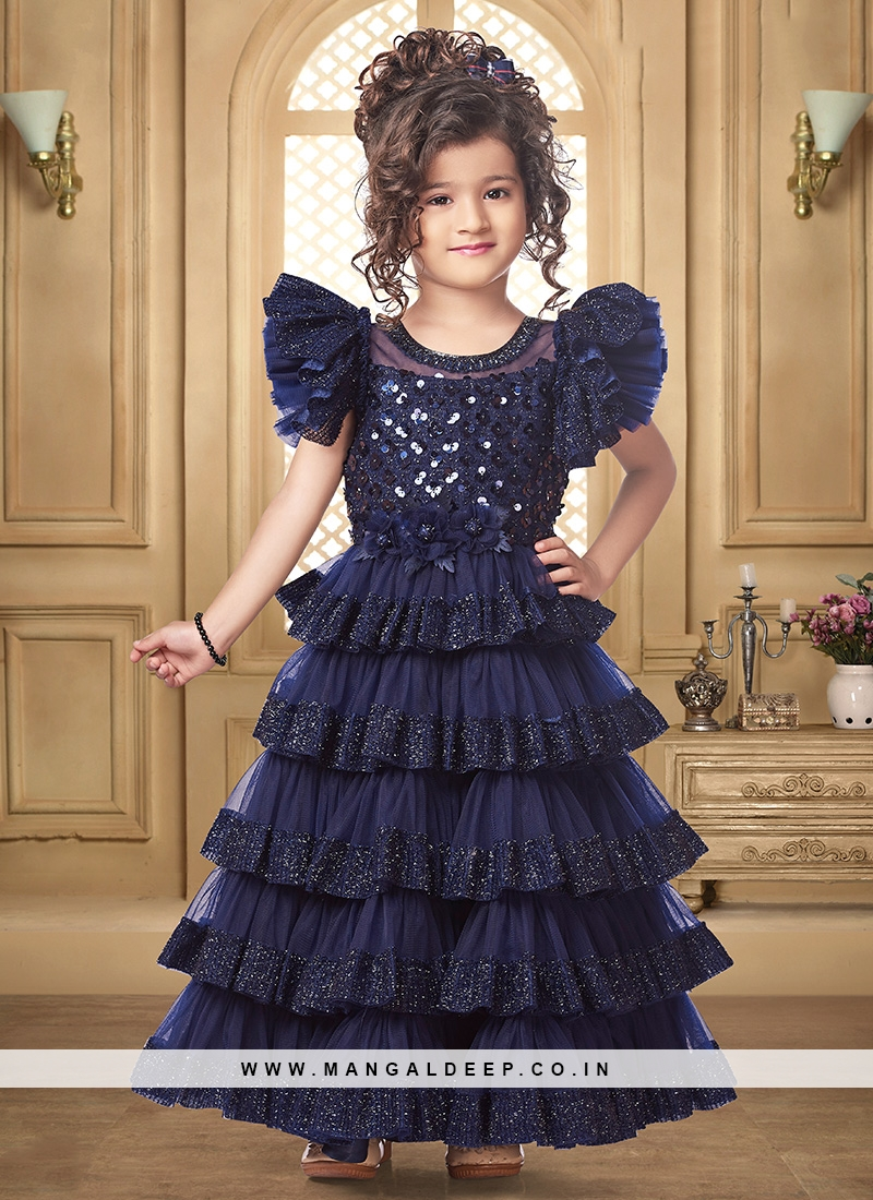 Stunning Blue Color Function Wear Gown For Kids