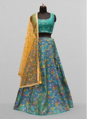 Stunning Blue Color Function Wear Lehenga Choli