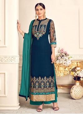 Stunning Blue Color Party Wear Designer Salwar Suit