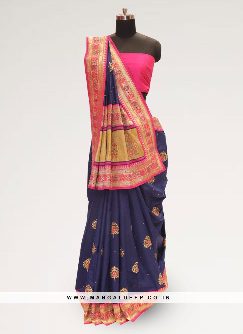 Stunning Blue Color Party Wear Designer Saree