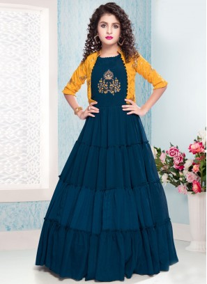 Stunning Blue Color Party Wear Gown For Kids