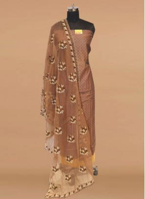 Stunning Brown Color Party Wear Designer Salwar Suit