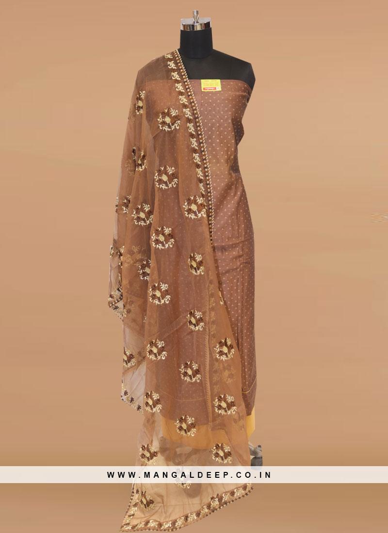 Stunning Brown Color Party Wear Designer Salwar Suit