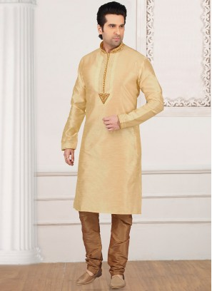 Stunning Cream Color Festive Wear Kurta Payjama