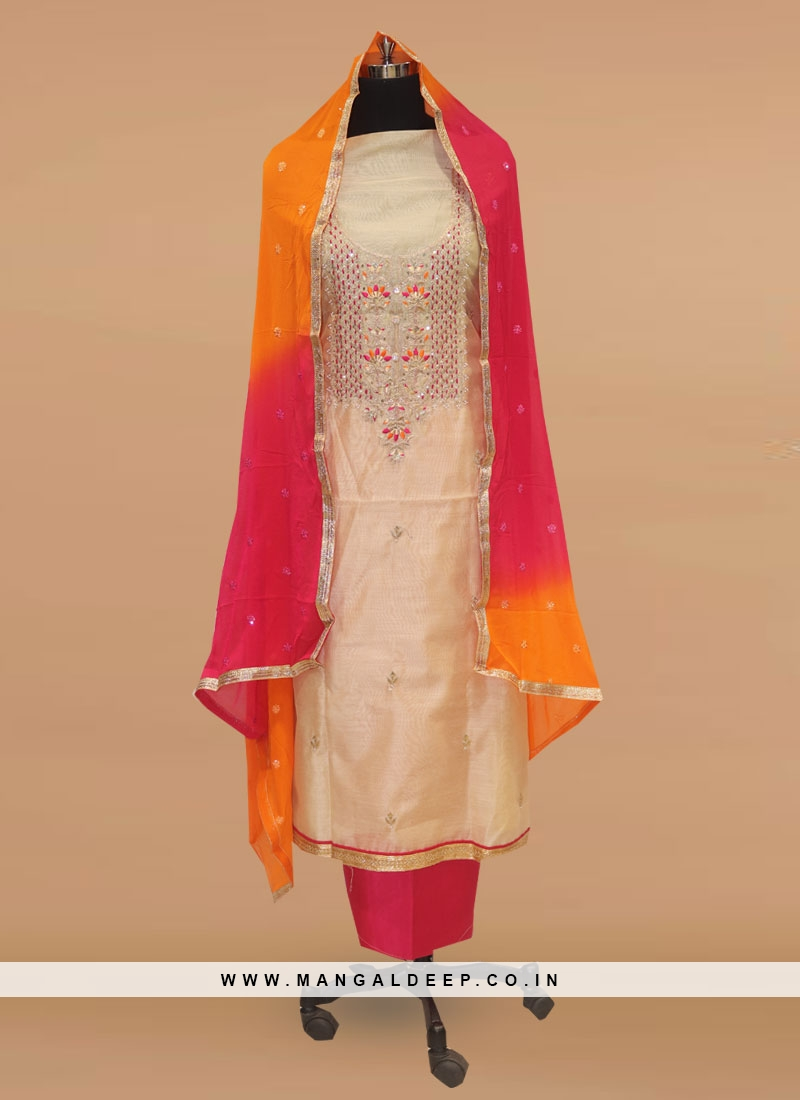 Stunning Cream Color Party Wear Designer Salwar Suit