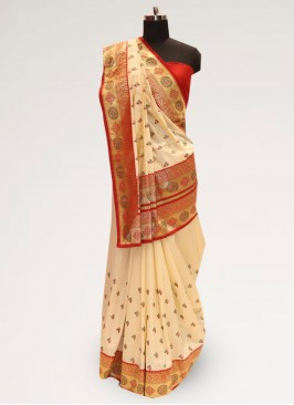 Stunning Cream Color Party Wear Designer Saree