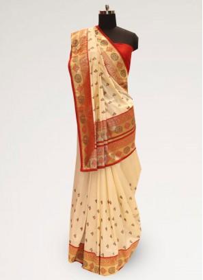 Stunning Cream Color Party Wear Designer Saree