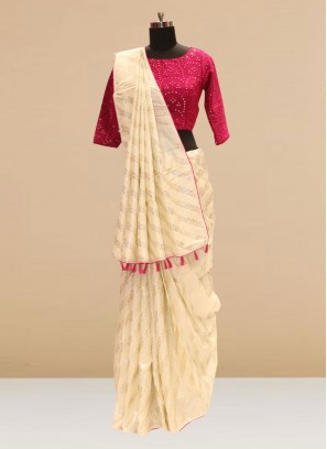 Stunning Cream Color Party Wear Silk Saree