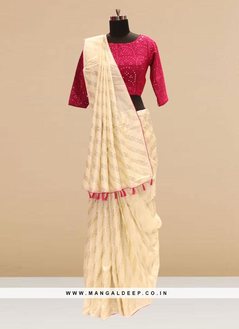 Stunning Cream Color Party Wear Silk Saree