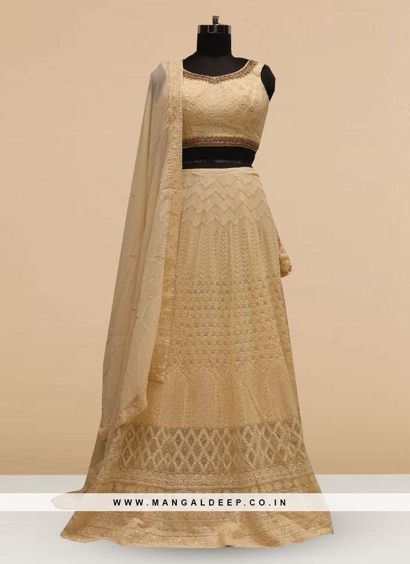Stunning Cream Color Silk Lehenga Choli