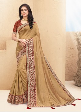Stunning Gold Color Party Wear Saree