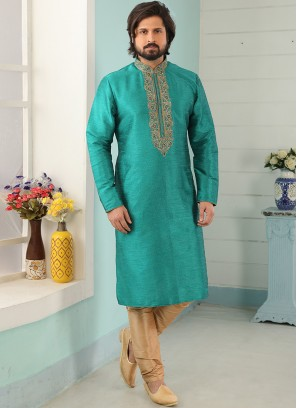 Stunning Green Color Art Silk Embroidered Kurta Pajama