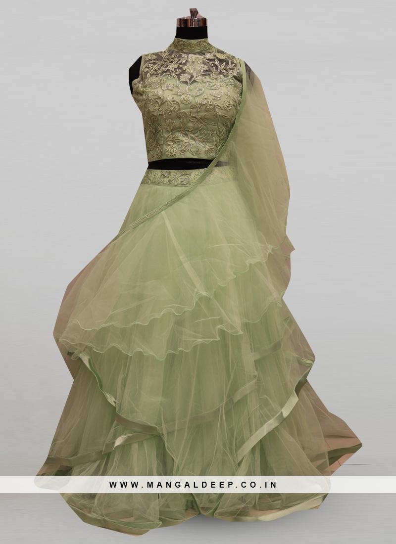 Stunning Green Color Festive Wear Designer Lehenga Choli