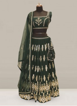 Stunning Green Color Festive Wear Embroidered Lehenga Choli