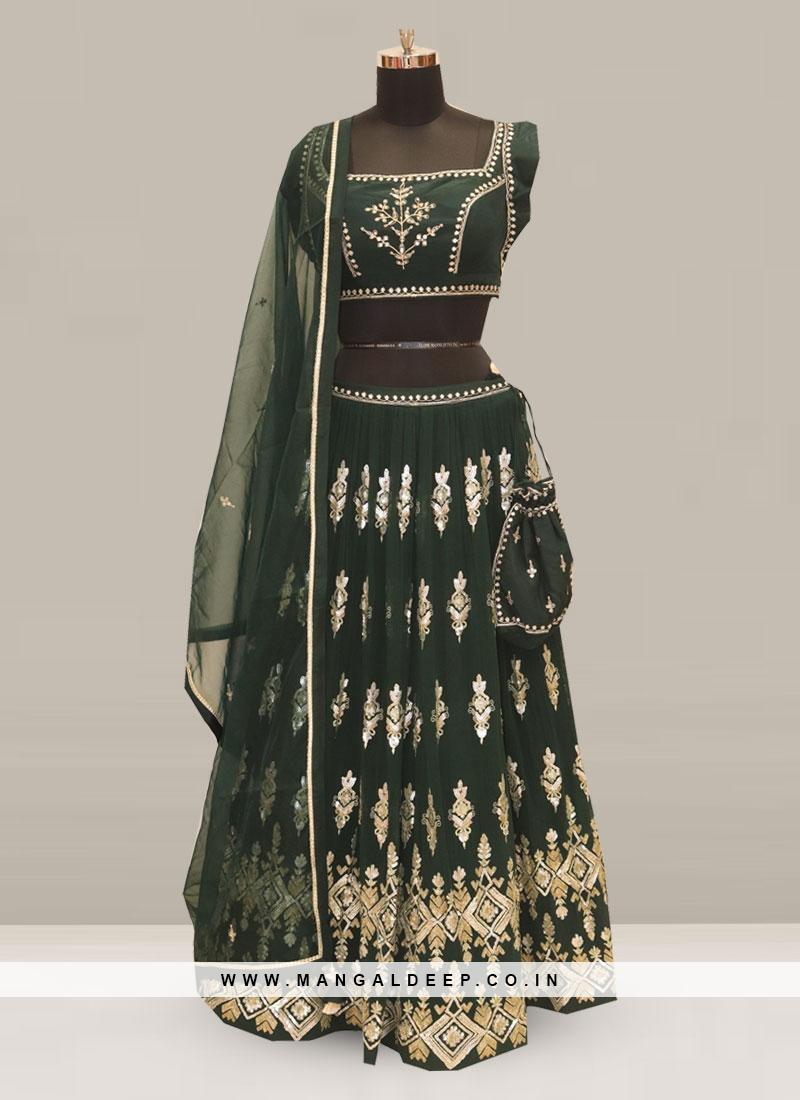 Stunning Green Color Festive Wear Embroidered Lehenga Choli