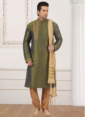 Stunning Green Color Festive Wear Kurta Payjama